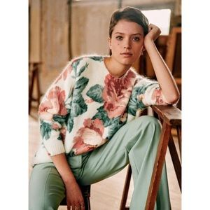 SEZANE Pull Brieu Rose Floral Sweater Size Small